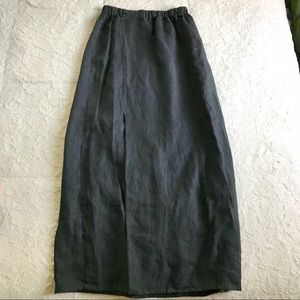 Flax Black Front Slit Maxi Skirt
